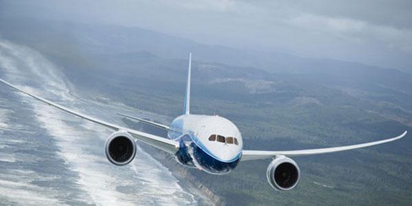 Stuff of dreams ... the 787 flies high above the Oregon coast