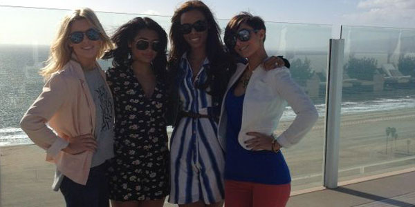 Girl group The Saturdays visit Los Angeles for business and shopping
