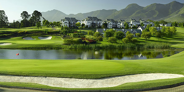 Manicured golf course and residences of Fancourt Hotel & Country Club