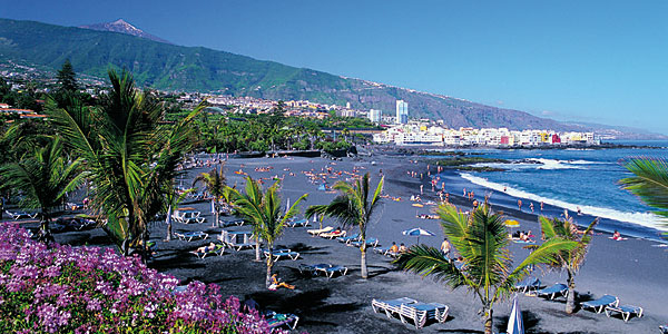 Bright flowers contrast with black sand and rich blue water