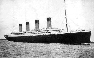 R.M.S. Titanic embarking on her fatal maiden voyage