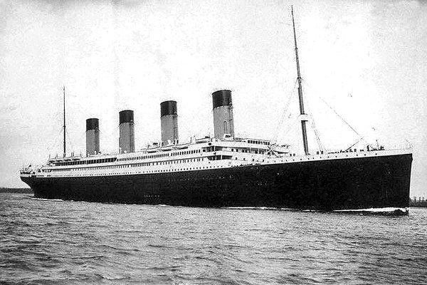 R.M.S. Titanic embarking on her fatal maiden voyage