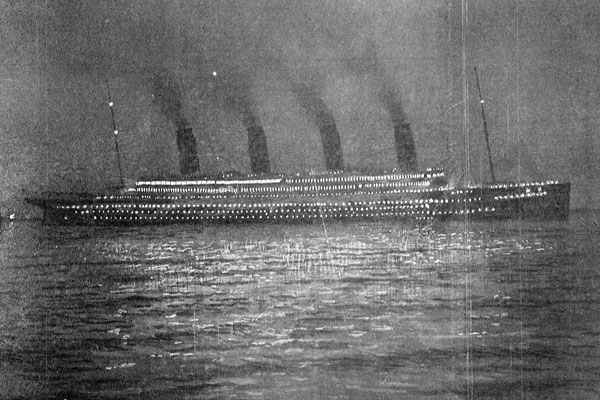 A photograph of Titanic taken in Cherbourg on 10 April 1912