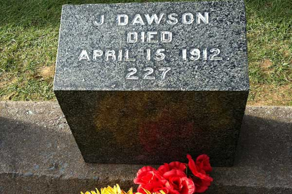 121 victims are buried at Fairview Cemetery, Halifax. This one belongs to Joseph Dawson, who was an Irish coal trimmer and not the Leonardo DiCaprio character in Titanic