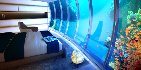 A view from one of the rooms in the planned Discus Hotel, Dubai