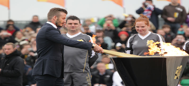 David Beckham during the ceremony to mark the arrival of the Olympic flame, at RNAS Culdrose, Cornwall.
