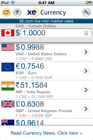 XE-Currency - 5 great iPhone travel apps