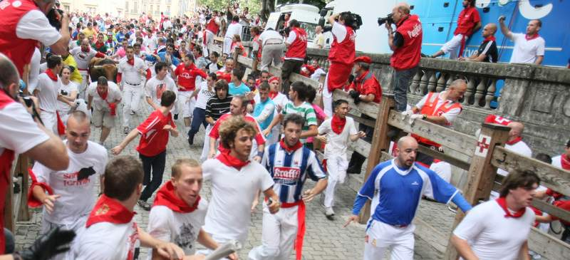 Head to Pamplona for the running of the bulls