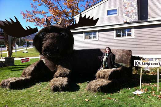 A giant moose made of hay