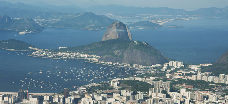 Rio de Janeiro. The Sugarloaf mountain, viewed from the Corcovado.