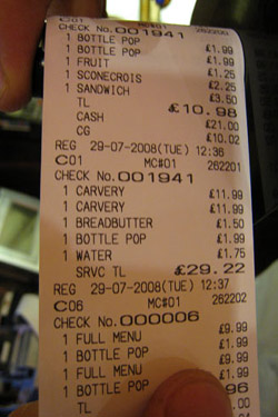 Service charge is included with the bill in some countries