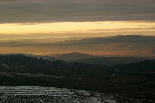 Sunset from Cairngorm over Aviemore, Scotland