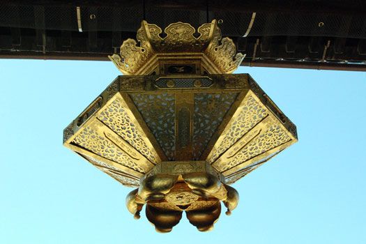 The stunning gold lanterns hung throughout the Nishi Honganji Temple in Kyoto