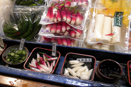 Not fish! Radishes and pickles on sale at Nishiki Market, Kyoto