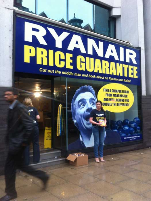 Ryanair's pop-up shop in Manchester
