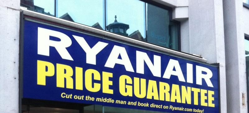 Ryanair's pop-up shop in Manchester, UK