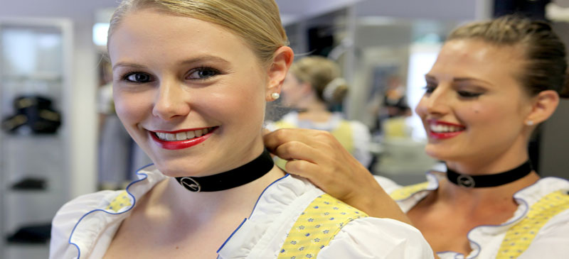 Lufthansa cabin crew in traditional Bavarian dress