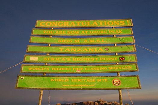Congratulations! You are now at Uhuru Peak, Tanzania