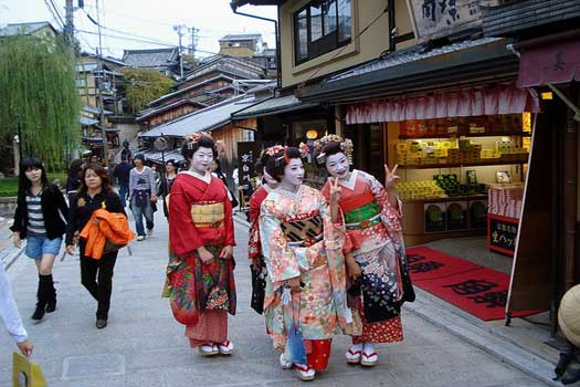 Geisha in the Gion district, Kyoto, Japan