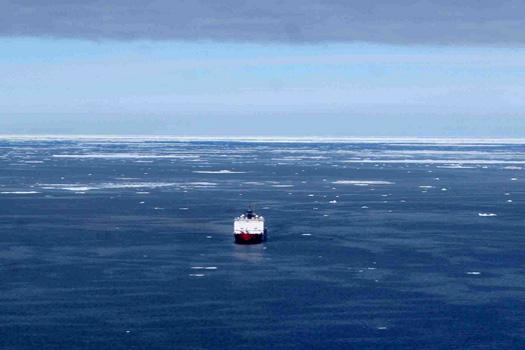 A ship off the coast of Barrow, Alaska