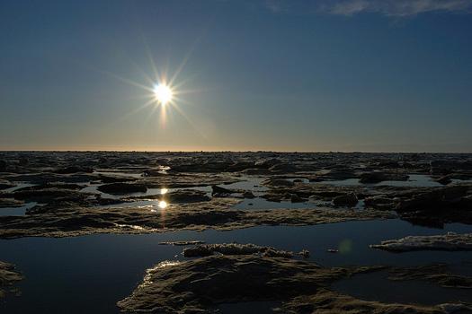 The midnight sun in Barrow, Alaska