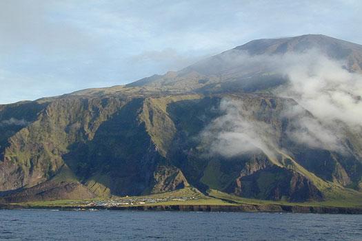 The main settlement on Tristan da Cunha