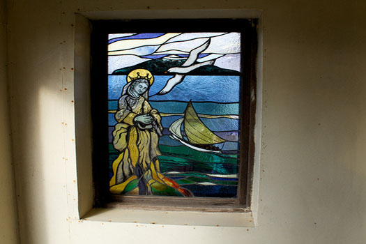 A stained glass window in St. Joseph's Catholic Church, Tristan da Cunha