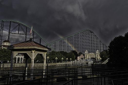 Rainbow behind Phantom's Revenge, Kennywood Park, West Mifflin, Pennsylvania