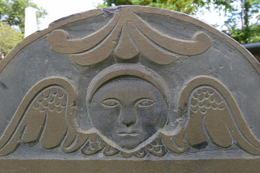 A gravestone in Broad Street Cemetery, one of Salem's oldest cemeteries