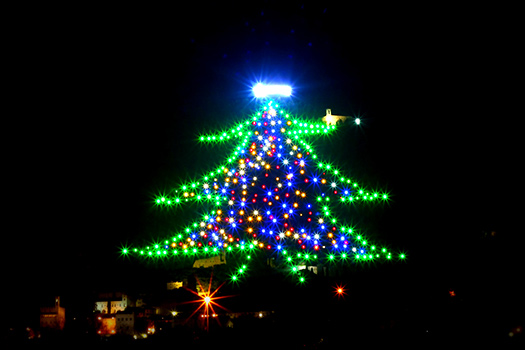 Gubbio - Christmas trees with real bling