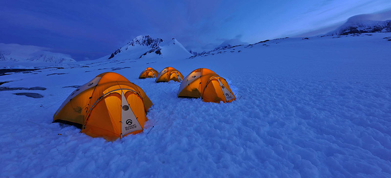 Pitch a tent in Antarctica