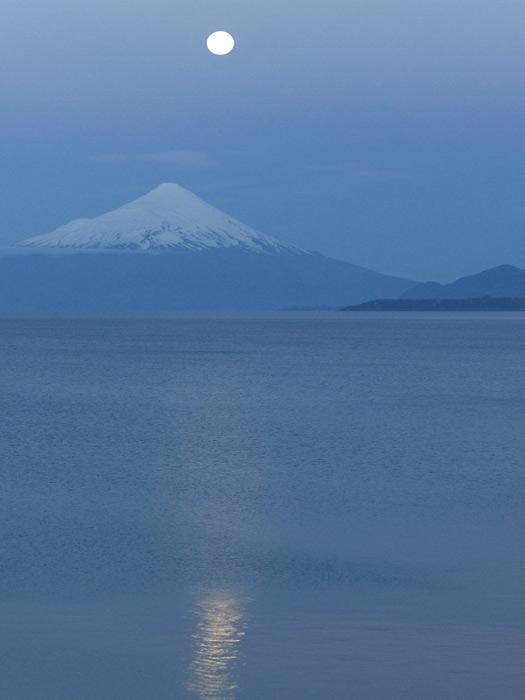 Moonrise over Osorno, Chile