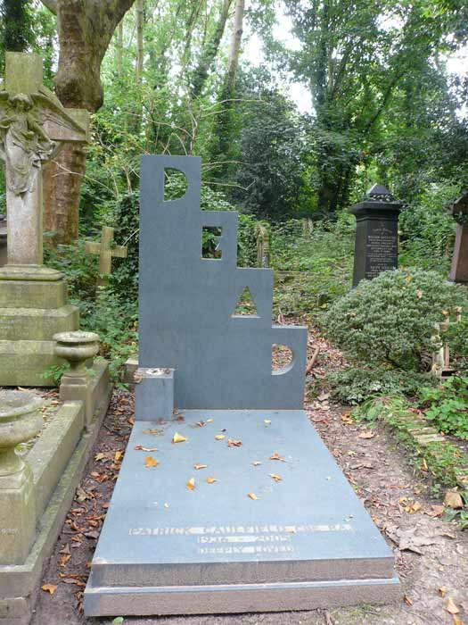 Patrick Caulfield's grave at Highgate Cemetery, London