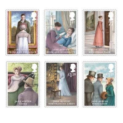 All six of Jane Austen's published novels are represented on the stamps