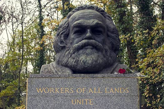 Karl Marx's tomb at Highgate Cemetery, London