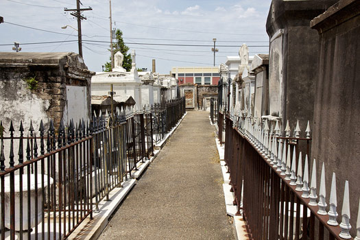 A long row of tombs at Saint Louis Cemetery New Orleans