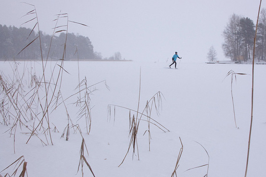 Skiing on Lake Kallavesi. Photo by jlz