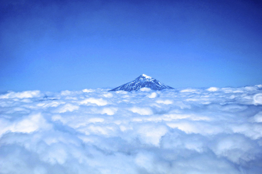 View from the top of Villarrica - the Lanin volcano in Argentina
