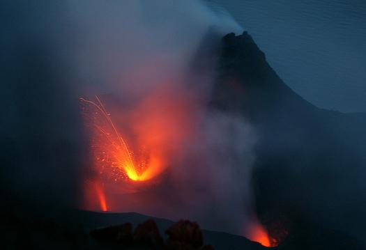 Eruption seen from summit of Stromboli