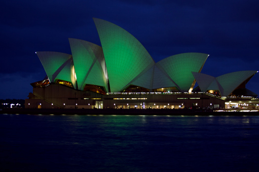 The Sydney Opera House goes green for St. Patrick's Day