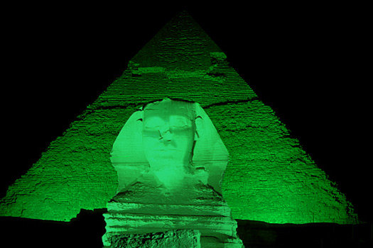 """The """"greened"""" Sphinx and Pyramids, Egypt"""