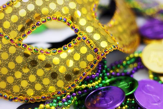 Purple, gold and green. The colours of Mardi Gras