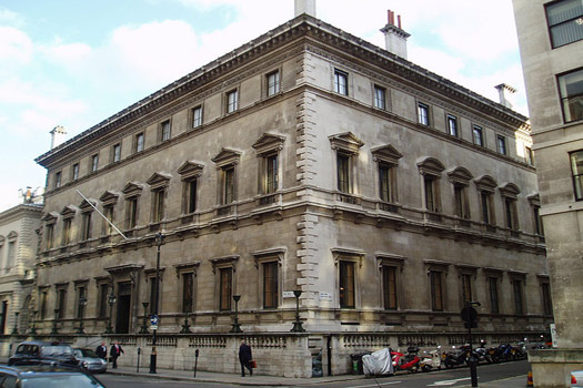 Reform Club London where Phileas Fogg accepts the bet from his fellow members