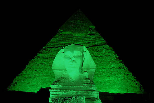 The 'greened' Sphinx and Pyramids