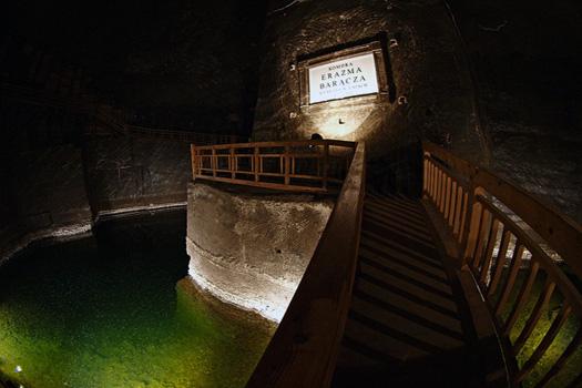 The green lake at Wieliczka Salt Mine, Poland