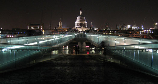 London Millennium Footbridge with view of St Paul's Cathedral