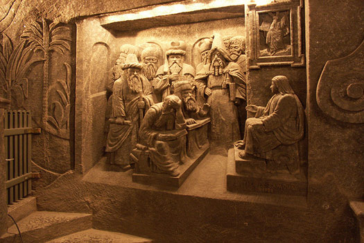 A carving - Jesus at the temple - at Wieliczka Salt Mine, Poland