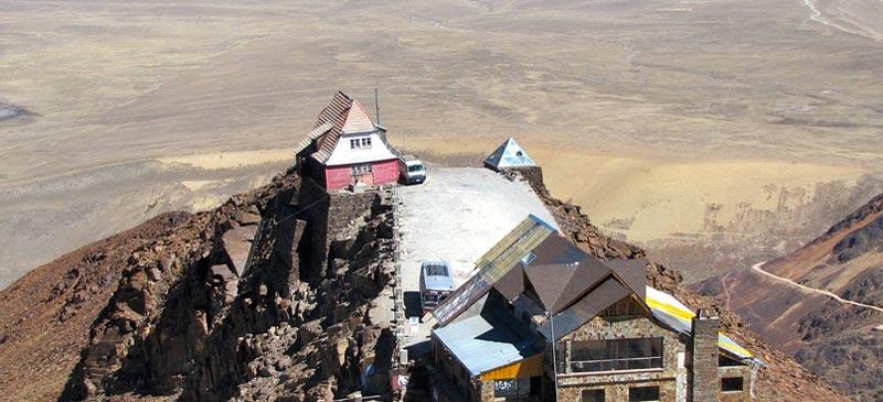 Gaststube at the former Chacaltaya ski resort chalet, near La Paz Bolivia
