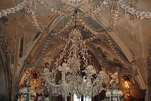 Bone chandelier, Sedlec Ossuary. Photo by Lyn Gateley
