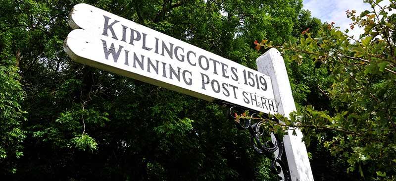 Start-finish post Kiplingscote Derby